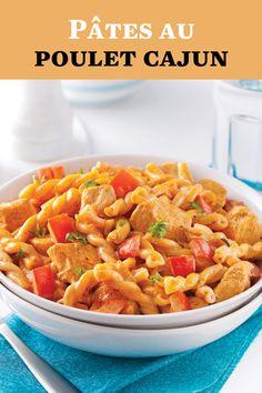 Les épices cajun donnent tellement de goût à nos plats! Elles se marient à merveille avec le poulet dans cette recette de pâtes à 5 ingrédients. Calories, Casserole, Menu, Ethnic Recipes, Food, Al Dente, Cajun Chicken Pasta, Cajun Seasoning, Pasta With Chicken