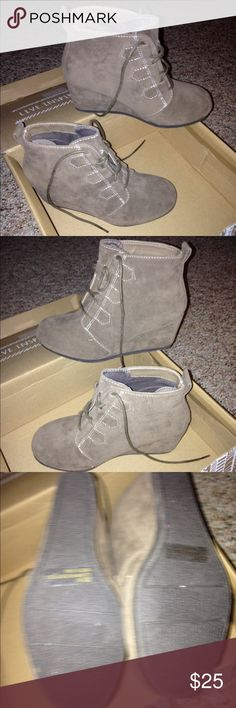 Day trip taupe suede booties Never worn. Did have box but daughter kinda destroyed it. Lol Daytrip Shoes Ankle Boots & Booties