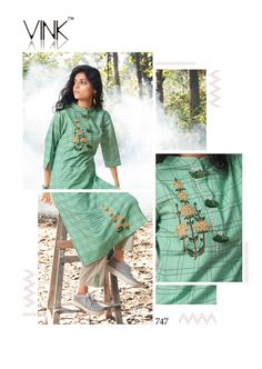 Stylish Dress Designs, Stylish Dresses, Woven Cotton, Woven Fabric, Hand Work Embroidery, Embroidery Stitches, Kurtis, Chic Outfits, Designer Dresses