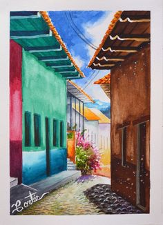 Calle de Yuscaran, Honduras Acuarela por Hector Cortes - Pintor y fotografo hondureño  Acuarela (watercolor)