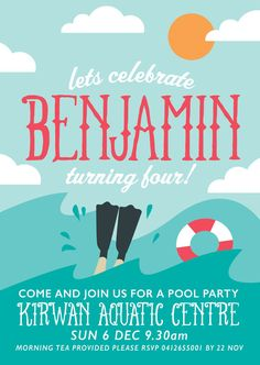 Printable Beach or Pool Party Theme Birthday Invitations.