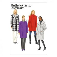 4266 UNCUT Butterick SEWING Pattern Misses Very Loose Fitting Unlined Poncho OOP