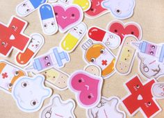 Cute Medical First Aid Kit Sticker Flakes Big Pack of 26- Kawaii Hospital Doctor Medicine Stickers - Journaling, Calender, Envelope Seals $4.75 #etsy #handmade #stickers