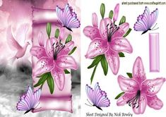 Pink Lillies and butterflies on a scroll with dove on Craftsuprint - Add To Basket!