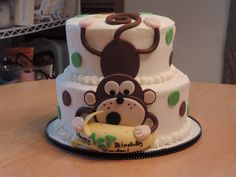 Monkey 1st Birthday - Fun little buttercream cake for a little guy/s 1st Birthday! Chocolate and vanilla buttermilk cake, vanilla buttercream filling and frosting and fondant details.