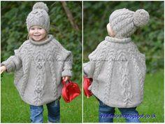 Patrón de Punto - Tentación poncho y el sombrero juego (para niños pequeños y las tallas de niño) en Inglés y Francés