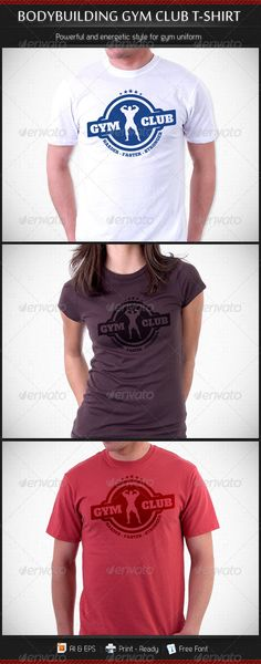 #Bodybuilding #Gym Club #T-Shirt Template - Sports & Teams T-Shirts Download here: https://graphicriver.net/item/bodybuilding-gym-club-tshirt-template/3562262?ref=alena994