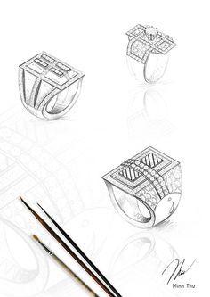 Sketches of Tiffany Bezet diamond engagement rings. #
