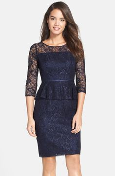 Good Mother of the Bride dress. Adrianna Papell Adrianna Papell Peplum Lace Sheath Dress (Nordstrom Exclusive) available at Lace Party Dresses, Mob Dresses, Cheap Dresses, Bridal Dresses, Woman Dresses, Blue Dress With Sleeves, Lil Black Dress, Sequin Cocktail Dress, Sequin Dress