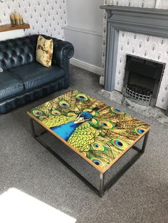 Beautiful sleek peacock metal frame design coffee table sits proudly in the modest living space. Small Coffee Table, Coffee Table Design, Coffee Tables, Bespoke Furniture, Furniture Design, Peacock Coffee, Living Spaces, Room, Metal