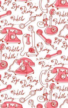 Alanna Cavanagh Ring Ring pattern in pink #pattern #surfacedesign #vintage #illustration