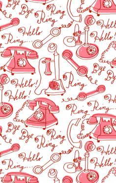 Alanna Cavanagh Ring Ring pattern in pink #pattern #surfacedesign #vintage #illustration