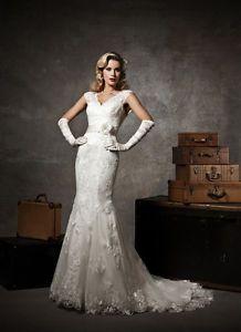Inspired 1920s V Neck Back Mermaid Lace Wedding Dress eBay