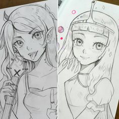 Marceline or Bubblegum?  -- Larienne.deviantart.com -- #larienne #manga #anime #sketch #doodle #drawing #pencildrawing #AdventureTime #marceline #bubblegum