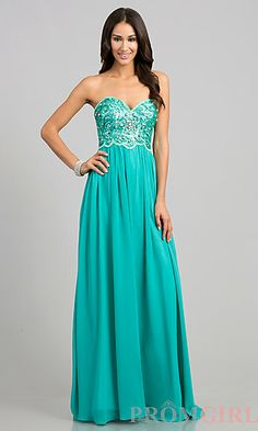 04a4de7934a7 Floor Length Strapless A-line Dress at PromGirl.com Formal Prom