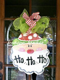I love santa decor!!!   Santa Claus Christmas Door Hanger  Bronwyn by BronwynHanahanArt, $50.00