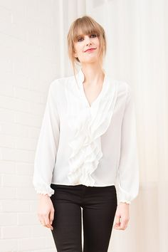 Petite Tiered Ruffle Blouse in Ivory by The Shirt Company - Bomb Petite. Petite Fashion Tips, Petite Outfits, Dress For Short Women, Bell Sleeve Top, Ruffle Blouse, My Style, How To Wear, Shirts, Clothes