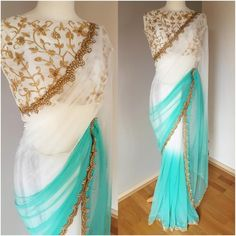 Beautiful white and blue color half and half net designer saree and white color crop top floral lata design hand embroidery gold thread work. Trendy Sarees, Stylish Sarees, Fancy Sarees, Stylish Dresses, Indian Gowns Dresses, Indian Fashion Dresses, Indian Designer Outfits, Ethnic Fashion, Unique Fashion