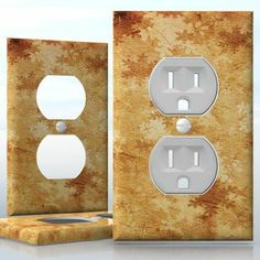DIY Do It Yourself Home Decor - Easy to apply wall plate wraps | Retro Snowfall Brown and yellow snowflakes wallplate skin sticker for 1 Gang Wall Socket Duplex Receptacle | On SALE now only $3.95