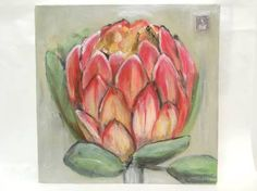 """""""Pink Protea"""" Acrylic on canvas Lavender Flowers, Tropical Flowers, Protea Art, Art Photography, Flower Photography, South African Artists, Hibiscus, Orchids, Abstract Art"""