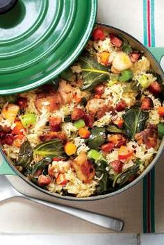 Chicken, rice, and greens fill one soulful pot in our family-friendly take on a Lowcountry staple. Q... - Photo: Greg Dupree