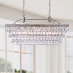 Antique Silver 6-light Rectangular Glass Droplets Chandelier - Overstock™ Shopping - Great Deals on Otis Designs Chandeliers & Pendants
