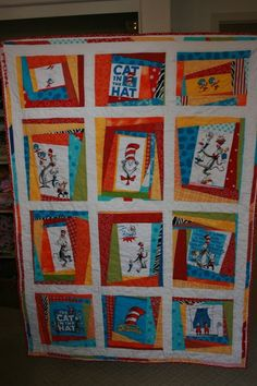 Dr Seuss Scrappy Lap Quilt by plumcozycottage on Etsy