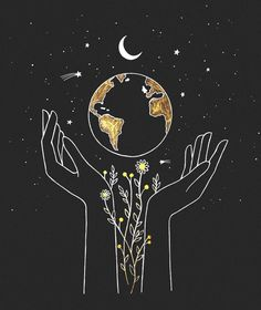 the earth is in our hands 🌻 commission artwork for — would love to do more custom drawing for you all! send me a DM, let's… Pencil Sketch Drawing, Drawing Base, Drawing Ideas, Pictures For Drawing, Drawing On Wall, Drawing Quotes, Drawing Drawing, Art And Illustration, Aesthetic Drawing