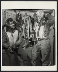 TUSKEGEE AIRMEN, William Campbell (left) and Thurston Gaines, Jr. of the Tuskegee Airmen Fighter Group at Ramitelli Airfield, Italy, March Photograph by Toni Frissell. Tuskegee Airmen, Black Wings, Fighter Pilot, African American History, History Facts, Military History, Historical Photos, Have Time, World War Ii