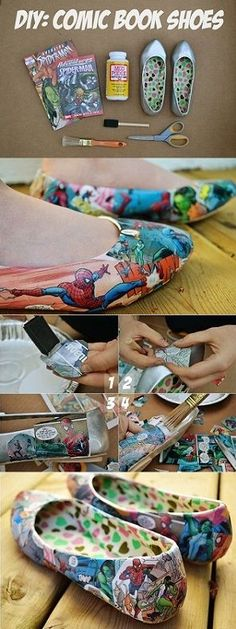 16 craft ideas for DIY # crafting ideas, - diy kleidung - Crafts Geek Crafts, Fun Crafts, Diy And Crafts, Mod Podge Crafts, Shoe Crafts, Diy Clothes Refashion, Diy Clothing, Shoe Refashion, Refashioned Clothes