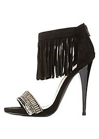 Qupid Beaded Fringe Ankle Cuff Dress Sandals