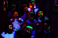 Neon Glow in the Dark Party-- everyone wears white and neon-- LOVE the neon face paint!