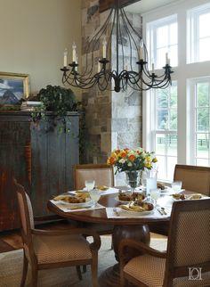 Trotter's Green Breakfast Room, Beams, Antique Cabinet, Sisal Rug, Beadboard   by Deborah Leamann Interior Design - Lookbook - Dering Hall