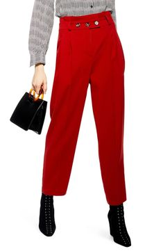 Women's Topshop Emilie Paperbag Waist Tapered Trousers, Size 2 US (fits like - Metallic Denim Pants, Cropped Pants, Women's Pants, Jeans, Paperbag Pants, Tapered Trousers, All About Fashion, Fashion Pants, Women's Leggings