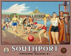 The view of Southport by Fortunino Matania which topped the Guest collection of railway posters sold by Morphets. Entitled 'The Lido', it took Posters Uk, Train Posters, Railway Posters, Poster Ads, Poster Prints, Beach Posters, Retro Posters, Vintage Advertising Posters, Vintage Travel Posters