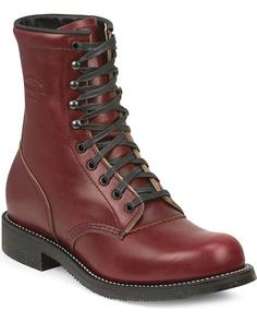 Chippewa Men's Limited Edition Oxblood Service Boots - Round Toe
