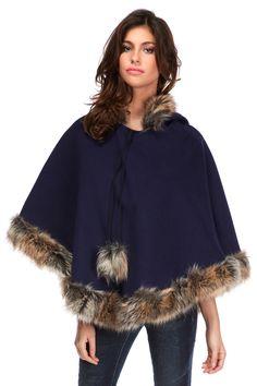 Venda Vanille & Chocolat / 31425 / Sweats, camisolas e casacos de malha / Poncho de lã Azul-marinho