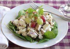 Chicken Salad on a bed of lettuce, a great lunch option!  Can use leftover chicken breast from the night before, to cut calories try using SmartBalance Mayo