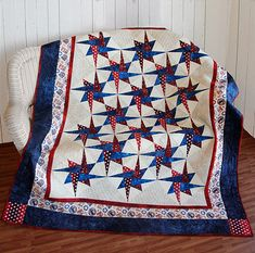 Patriotic Starry Path Quilt Free Tutorial designed by Jennifer Bosworth of Shabby Fabrics Blue Quilts, Star Quilts, Easy Quilts, Quilt Blocks, Star Blocks, Paper Piecing Patterns, Quilt Patterns Free, Crochet Patterns, Quilting Projects