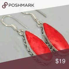 "Red Coral Earrings 1.7"" Red Coral Sterling Silver Earrings (Very Beautiful) Jewelry Earrings"