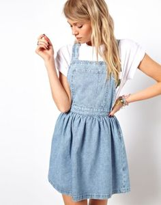 asos cross back denim pinafore dress-- newest fashion obsession! Have to make one of these!!
