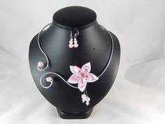 Eline - Parure fleur rose et blanche - personnalisable : Parure par creation-ninie