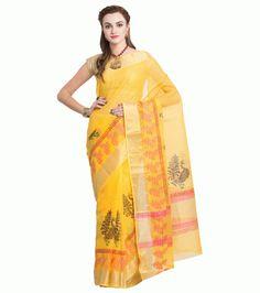 ffc3634527d959 Add This Kota Sarees Cotton Yellow Pink with Golden Zari Border Block  Printed Sari with matching