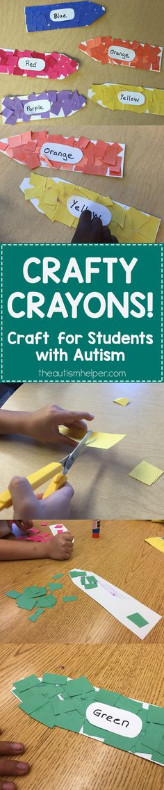Great crayon craft to accompany school supply themed adapted books with your students! From theautismhelper.com #theautismhelper