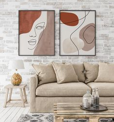 Abstract face line art print set of 2 woman face line drawing line portrait earth tones minimal art boho decor terracotta beige wall art this makeup face art looks like it s from the little mermaid Face Line Drawing, Drawing Art, Drawing Tips, Aesthetic Drawing, Aesthetic Painting, Aesthetic Dark, Face Lines, Abstract Faces, Abstract Art