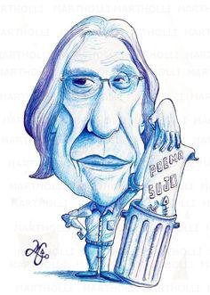 Ferreira Gullar (Homenagem/caricatura/Bic sobre   papel Canson)