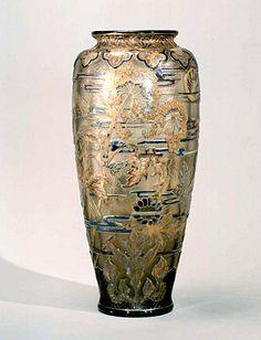 Emile Gallé, Large etched glass vase with enamel decoration. 1900 (ecole-de-nancy.com)