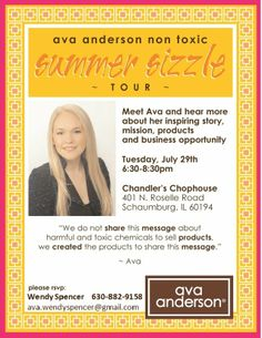 Ava Anderson Non-Toxic is COMING TO CHICAGO!  Register today to learn more about 'NO CHEMICALS' in your personal care and home products!  www.facebook.com/AvaAndersonIL