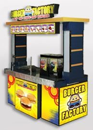 Find out all about how to start a Burger Factory Food Cart Franchise. This food cart serves burgers, and it also offers a buy one take one scheme. Cafe Menu Design, Food Cart Design, Restaurant Design, Food Cart Franchise, Food Service Jobs, Exhibition Stand Design, Kiosk, Hot Dog, Container