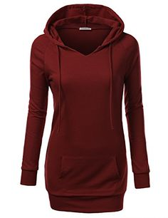 J.TOMSON Womens Long Sleeve Raglan Crewneck Tunic Sweatshirt Hoodie *** Read more reviews of the product by visiting the link on the image.